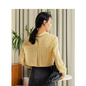Image 2 - をインマン 2020 春無地ターンダウン襟ポケットデザインシングルブレスト女性長袖シャツ