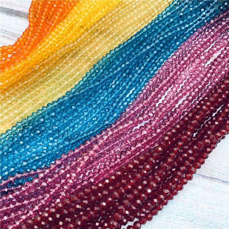 40 colors available 1strand 2X3mm/3X4mm/4X6mm crystal rondelle beads crystal beads glass beads for jewelry making diy(China)
