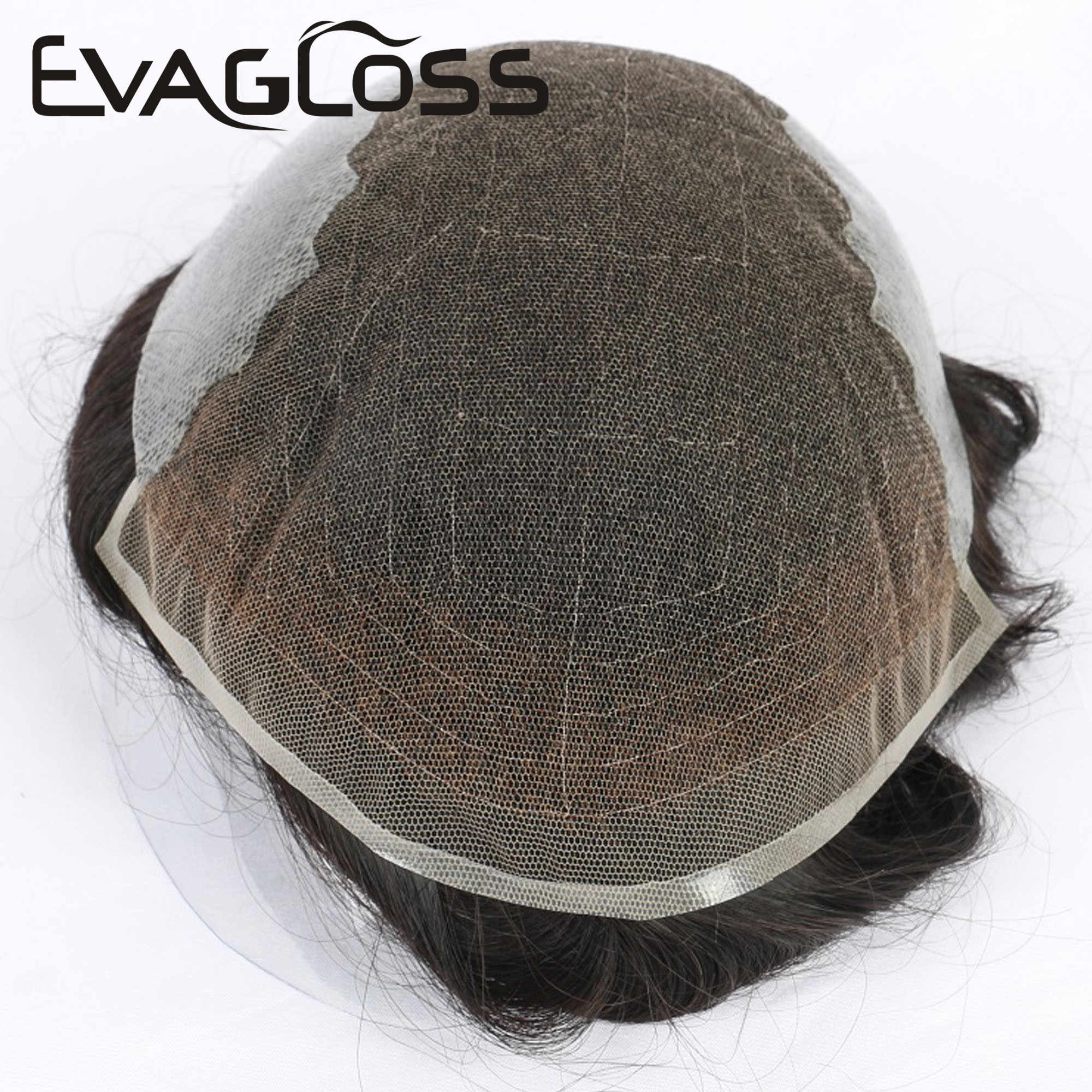 EVAGLOSS Mens Toupee 남자를위한 튼튼한 프랑스 레이스 얇은 PU 보충 머리 체계 Q6 작풍 Toupee 체계 인간적인 머리 남자의 가발