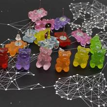 Cute Handmade Colorful Ins Style Cartoon Bear Earrings Resin Candy Color Animal Stud Friends Diary Fun Jewelry