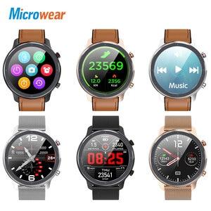 Image 2 - 2020 nova microfones l11 relógio inteligente tela de toque rastreador freqüência cardíaca ecg pressão arterial chamada lembrete bluetooth ip68 smartwatch