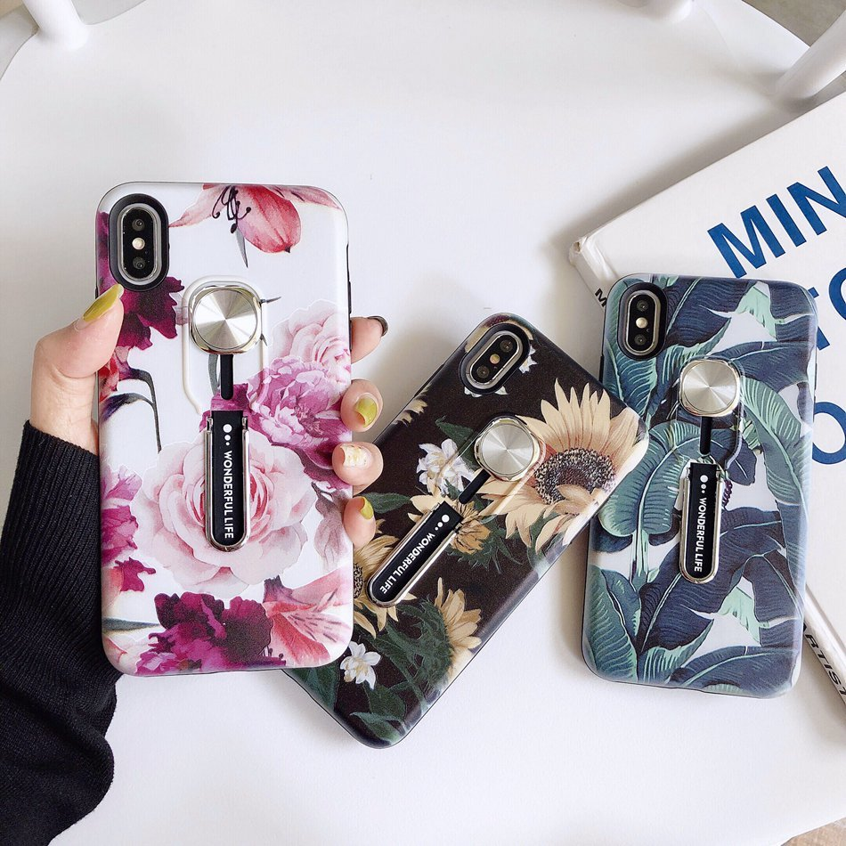 Luxury Hide Stand <font><b>Case</b></font> For <font><b>iPhone</b></font> 6s <font><b>7</b></font> 8 <font><b>Plus</b></font> XR XS Max <font><b>Case</b></font> Silicone <font><b>Holder</b></font> Flower Cover For <font><b>iPhone</b></font> 11 Pro Max <font><b>Case</b></font> Back Coque image