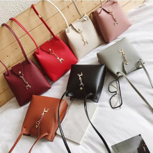 NEW High quality Vintage Fashion Small Women Leather Bucket Bag Handbag Drawstring Shoulder Bag Messenger Crossbody Bags Purses