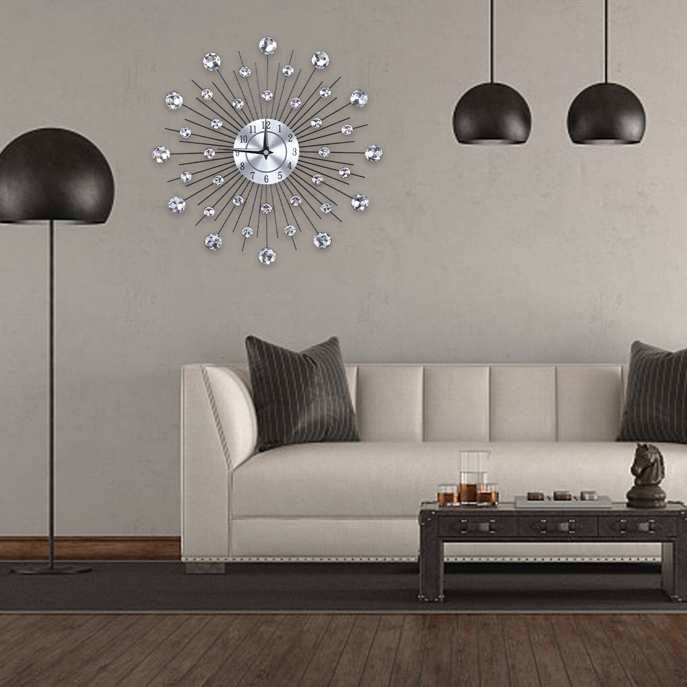 puseky Flower-Shaped Wall Clock Sparkling Bling Metallic Silver for Living Room Office