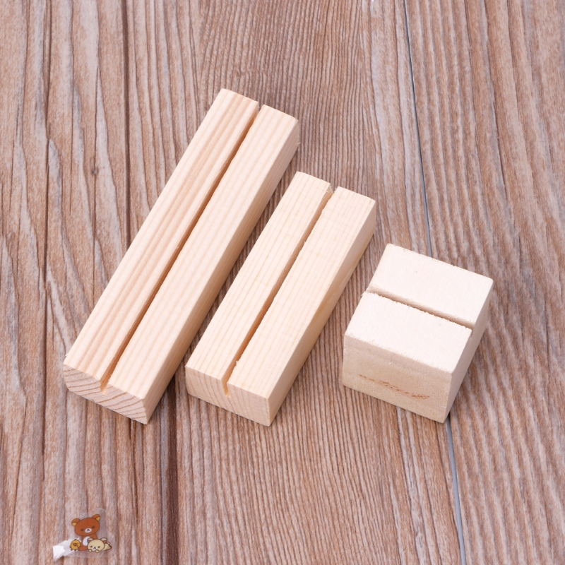 Natural Wood Memo Clips Photo Holder Clamps Stand Card Desktop Message Crafts  LX9A