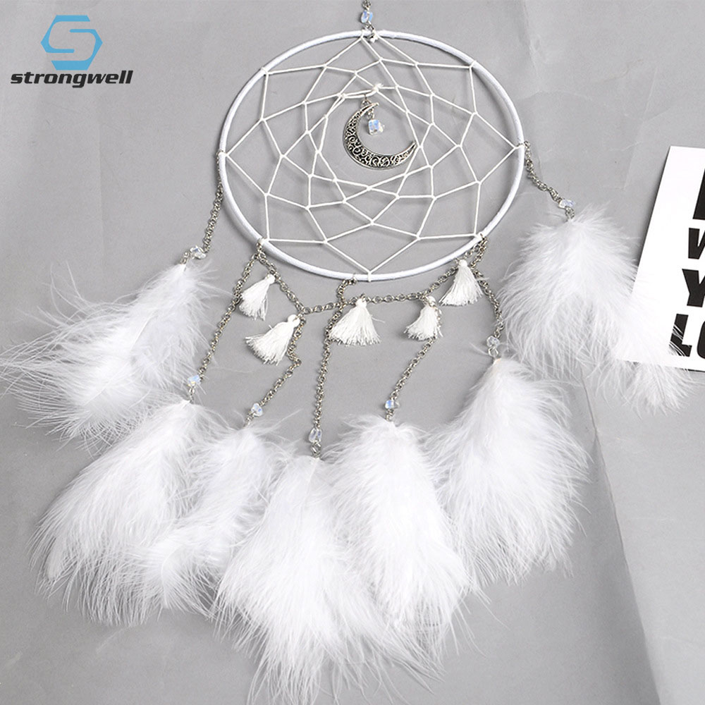 Dream Catcher Hanging White With Chimes And Feathers Large