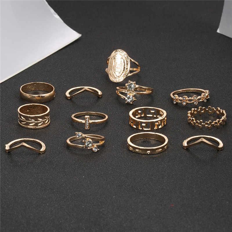 Conjunto de 13 unids/set de anillo bohemio nudillo MIDI para mujer anillo de dedo de flecha de flor de Color dorado María Punk para mujer Bijoux