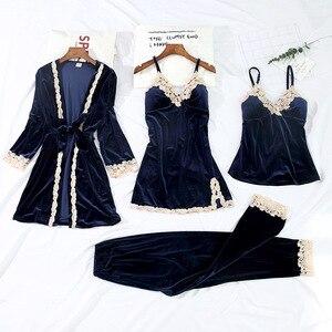 Женские бархатные пижамы, 4 шт., теплая осенне-зимняя одежда для сна, мягкий сексуальный кружевной ночной халат