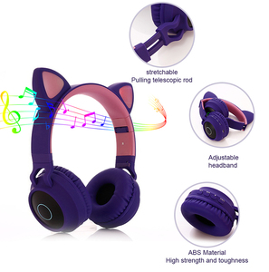 Image 5 - Cute Cat LED Bluetooth 5.0 Headphone With TV PC Car Laptop Bluetooth Adapter Wireless Noise Cancel Music Helmet For Kid Girl