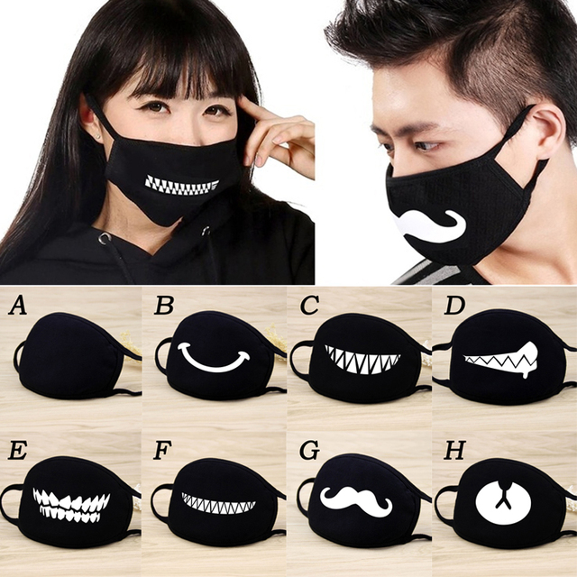 2020 Men Women Cotton Dust Mask Cartoon Expression Teeth Muffle Respirator Anti Kpop Bear Facemask Face Mouth Mask