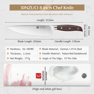 Image 2 - XINZUO 8 Chef Knife German DIN 1.4116 Steel Kitchen Knives Stainless Steel Meat Vegetables Knife Kitchen Red Sandalwood Handle