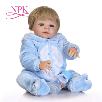 NPK 57cm full silicone sumilation newborn baby boy with black pasted hair and Brown clothes silicone reborn baby doll