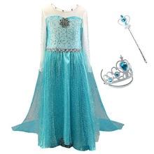 Girls Elsa Princess Dress Kids Blue Children Snow Queen Elza Halloween Birthday Party Cosplay Fancy