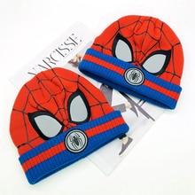 Для маленьких мальчиков шапочки для девочек шапка для малышей трикотажные Детские Кепки «Человека-паука» Детские осень-зима девочек Шапки для От 3 до 8 лет шапка для малышей