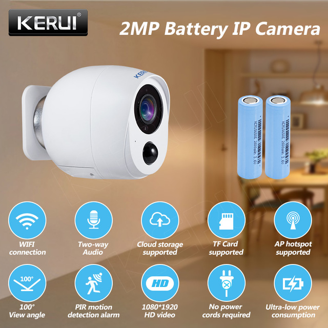 KERUI 2MP IP كاميرا بطارية مراقبة الأمن شاشة كاميرا واي فاي اللاسلكية CCTV كاميرا داخلية PIR إنذار الصوت سحابة التخزين