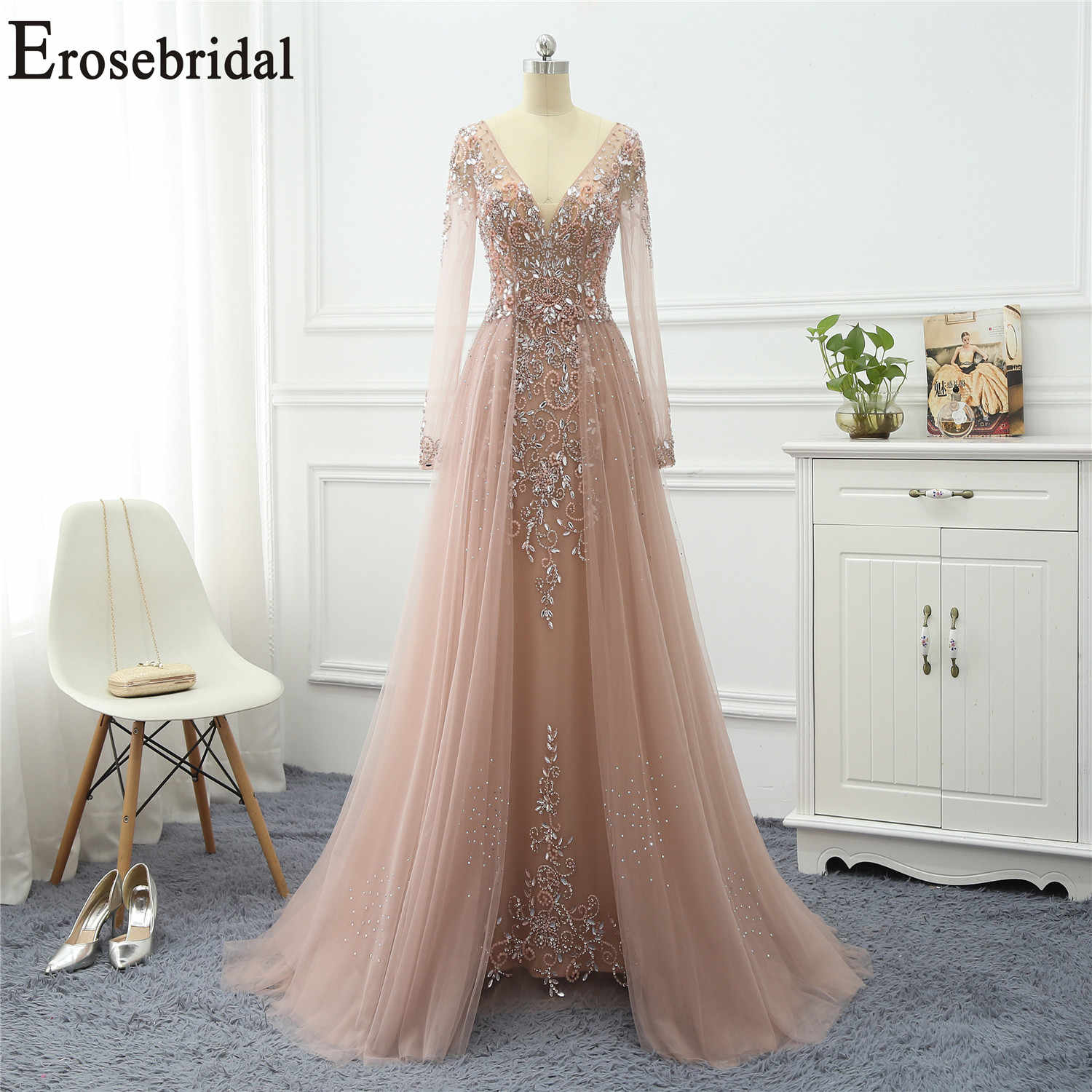 Erosebridal Beaded Elegant Evening Dress Long 2019 Long Sleeve Formal Dresses Evening Gowns for Women with Train