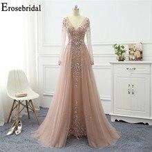 Erosebridal אלגנטי קו שמלת ערב ארוך 2020 שרוול ארוך פורמליות שמלות ערב שמלות לנשים עם רכבת ארוכה שמלה לנשף