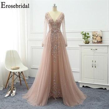 Erosebridal Elegant A Line Evening Dress Long 2020 Long Sleeve Formal Dresses Evening Gowns for Women with Train Long Prom Dress