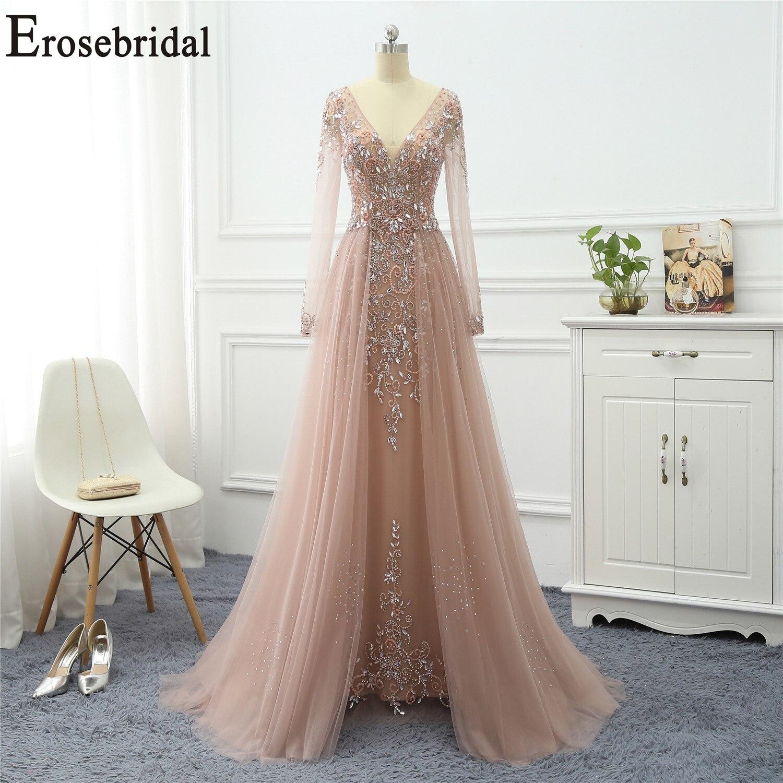 Erosenuptiale perlée élégante robe de soirée longue 2019 à manches longues robes formelles robes de soirée pour les femmes avec Train
