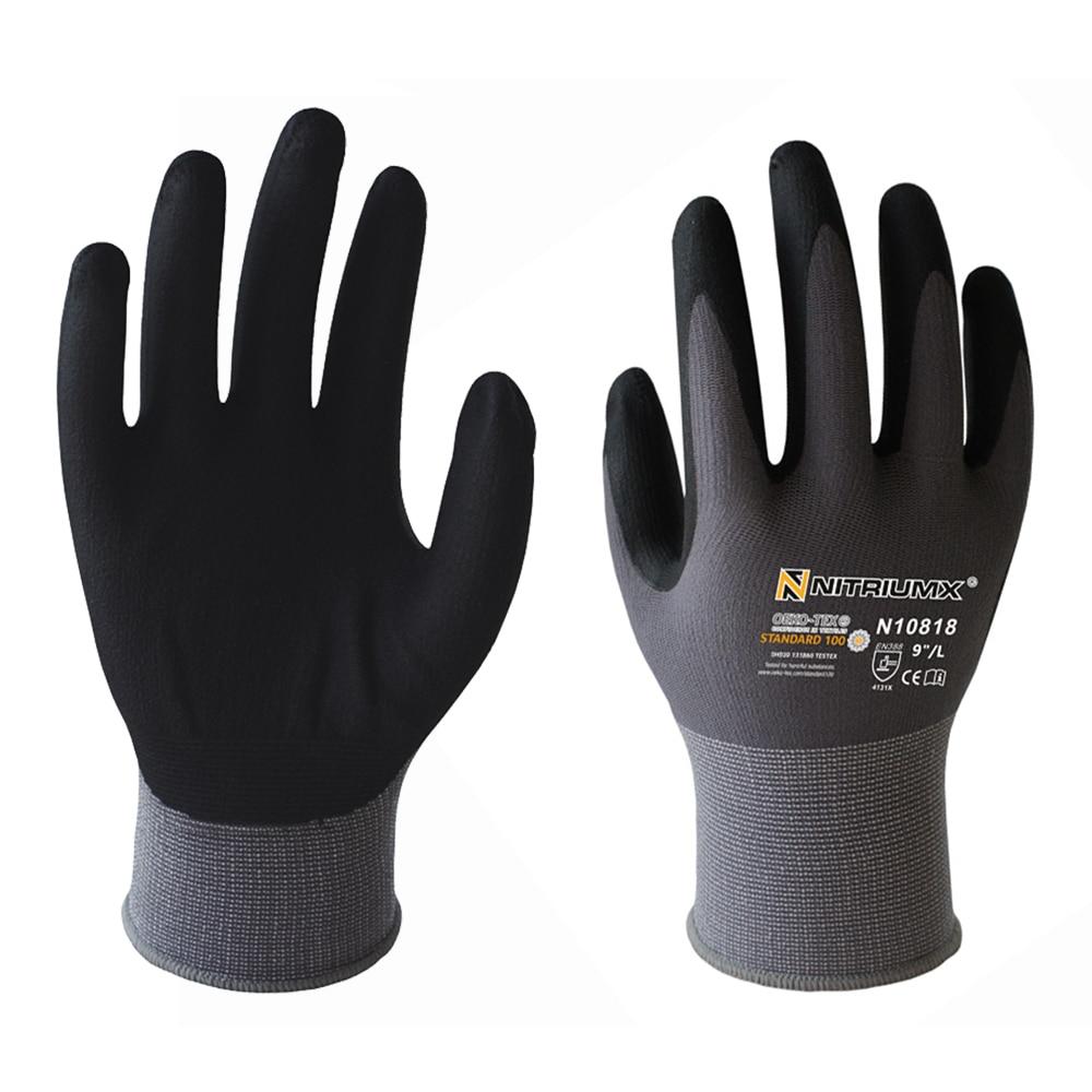 Nylon PU Nitrile Safety Coating Work Gloves Palm Coated Gloves Mechanic 15 Gauge Working Gloves M/L