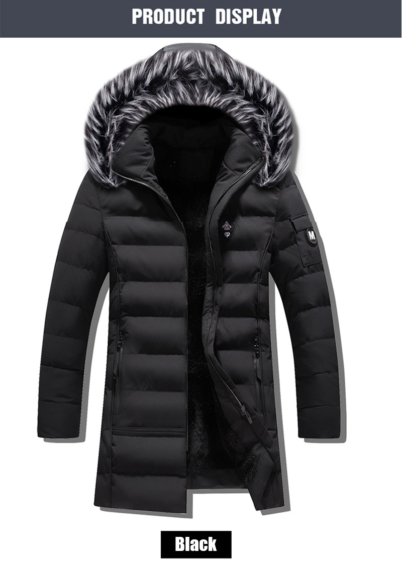 AOWOFS Mens Cotton Coat Thick Fur Collar/ Outdoors/ Windproof Warm Casual Jacket