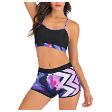 SAGACE Lady Sexy Vest Split Boxer Bikini Summer Two Pieces Bathing Suits Top Ruffled With High Waisted Switmsuit(China)
