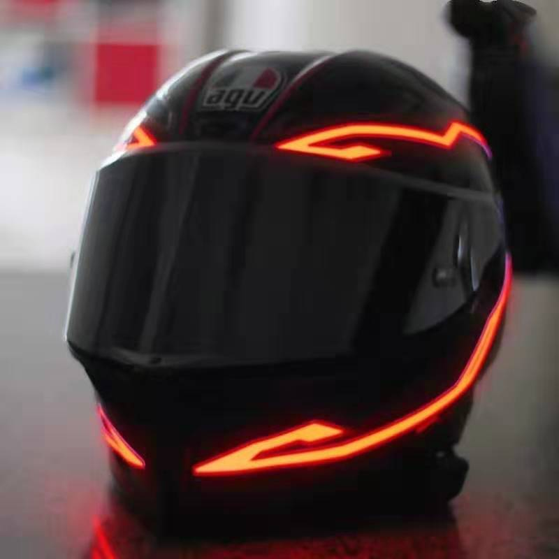 4PCS Motorcycle LED Night Riding Signal Helmet EL Cold Light 4 Mode Led Bike Helmet Lights Strip Kit Bar Accessories