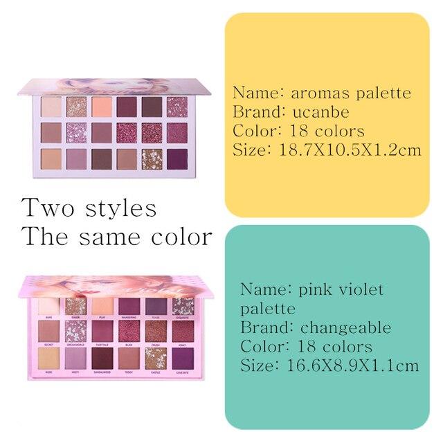 UCANBE Aromas Nude Eye Shadow Palette 18 Color Eyeshadow Shimmer Matte Glitter Powder Waterproof Paleta De Sombra Makeup Pallete 4