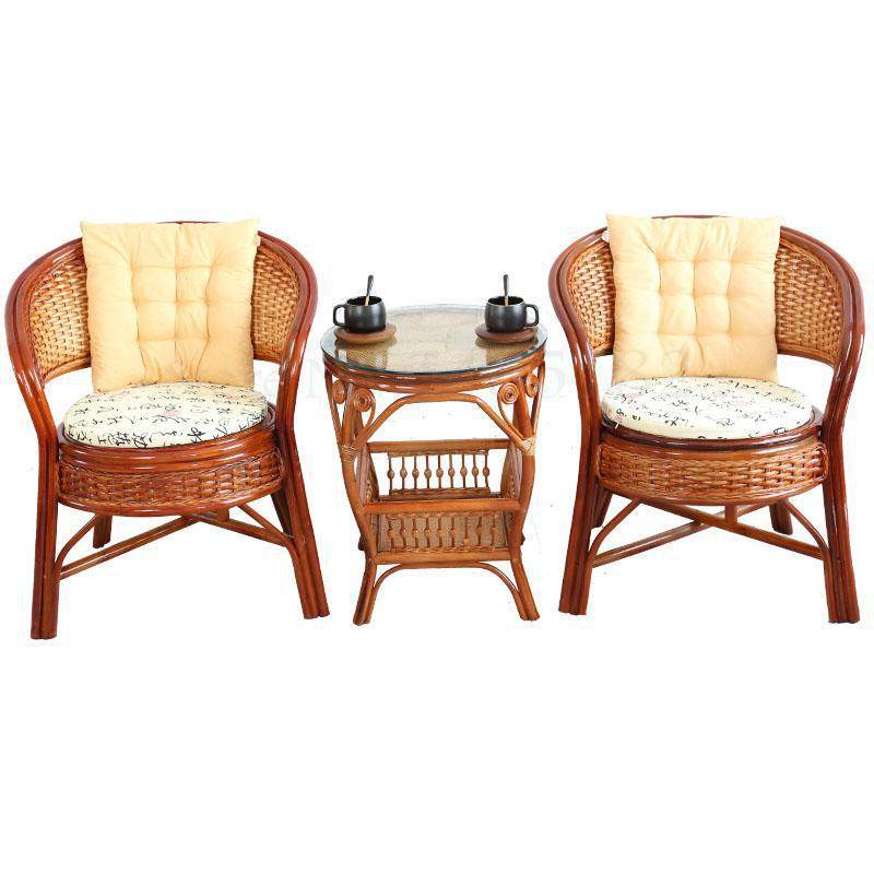 Rattan chair three-piece balcony table and chair small coffee table combination single seat lounge chair rattan woven back chair
