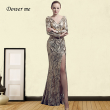Shiny Sequin Evening Dress GDX336 V-Neck Long Sleeve Formal Party Dresses Pattern Mermaid Robe De Soiree Plus Size Occasion Gown evening gown dress fur mermaid party long dresses women elegant plus size 5xl v neck bodycon knitted ladies maxi formal dress