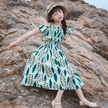 Teen Girl Summer Beach Holiday Princess Dress Green Leaf Cotton Party Elegant 5 6 7 8 9 10 11 12 13 14 15 Year Off Shoulder 2020