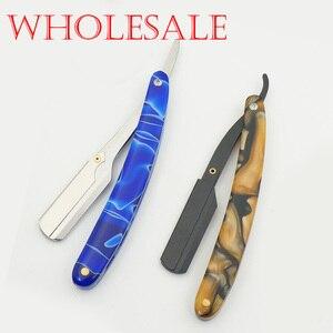 Оптовая продажа, классические мужские портативные бритвенные бритвы с серыми акриловыми ручками, парикмахерский нож для волос, бритва для ...