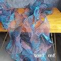 Wave для маленьких девочек кружевная отделка, синий и красный цвета градиентные Microfolds органза Сделай Сам Лоскутная работа манжеты платье с де...