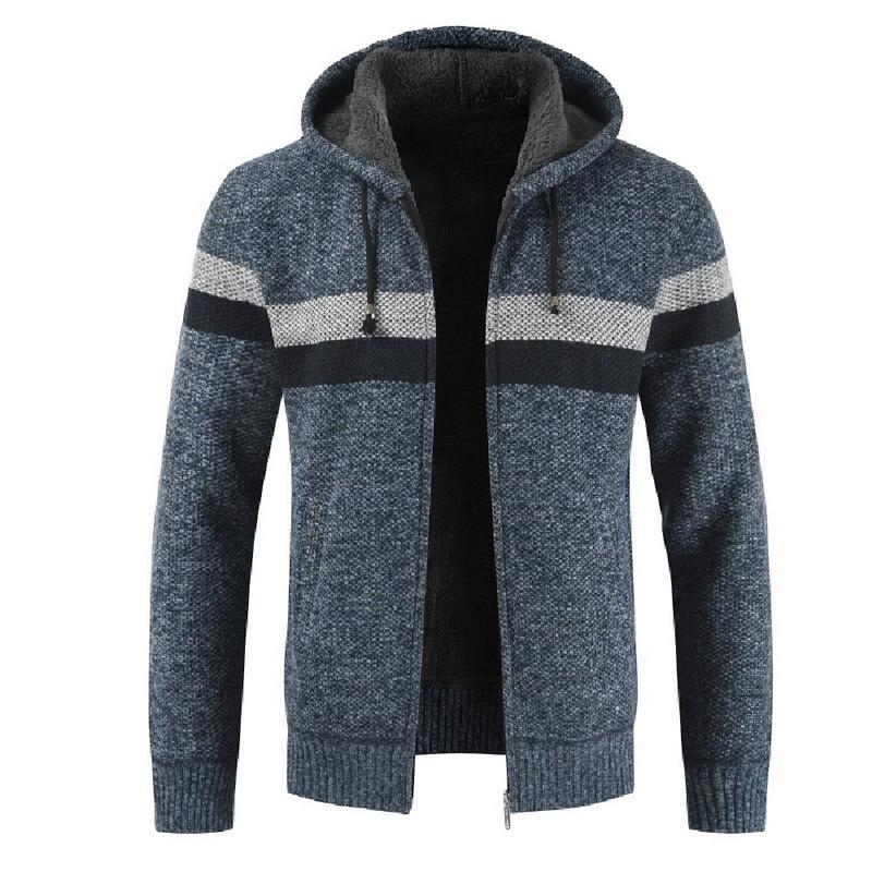 Men Winter Sweater Cardigan Hooded Knitted Sweater Coat Patchwork Thicken Warm Coat Wool Liner Zipper Fleece Coats 2019