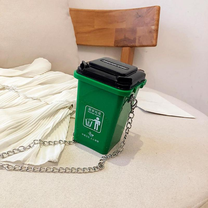 PVC Women Mini Shoulder Crossbody Bag Fashion Trash Can Ladies Chain Purse Messenger Bag
