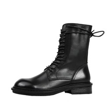 Купить с кэшбэком The first layer of leather Martin boots women's leather boots wild England wind high help in the tube handsome Knight motorcycle