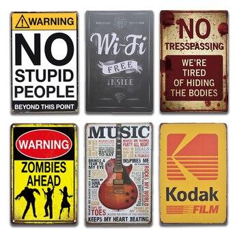 Retro Kodak Film alkohol WIFI metalowy znak Vintage nie wkroczenie Metal Wall Art znak blaszany dom wiejski ogród wystrój salonu