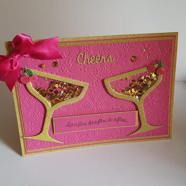 Troqueles de corte de acero de Metal de vidrio de cóctel de cereza caramelo de caña Cheers palabra para DIY Scrapbooking Shaker tarjetas repujado troqueles nuevo 2019