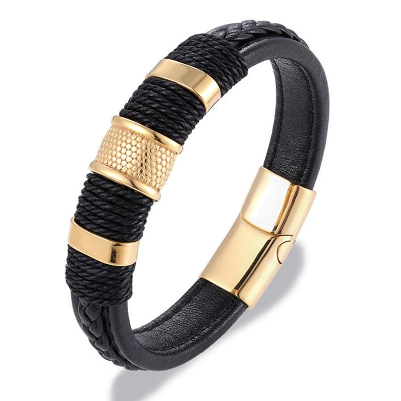 MKENDN Brand Multilayer Braid Genuine Leather Bracelet Titanium Stainless Steel Magnetic Buck Bracelet Men Woven Bangle Pulseras