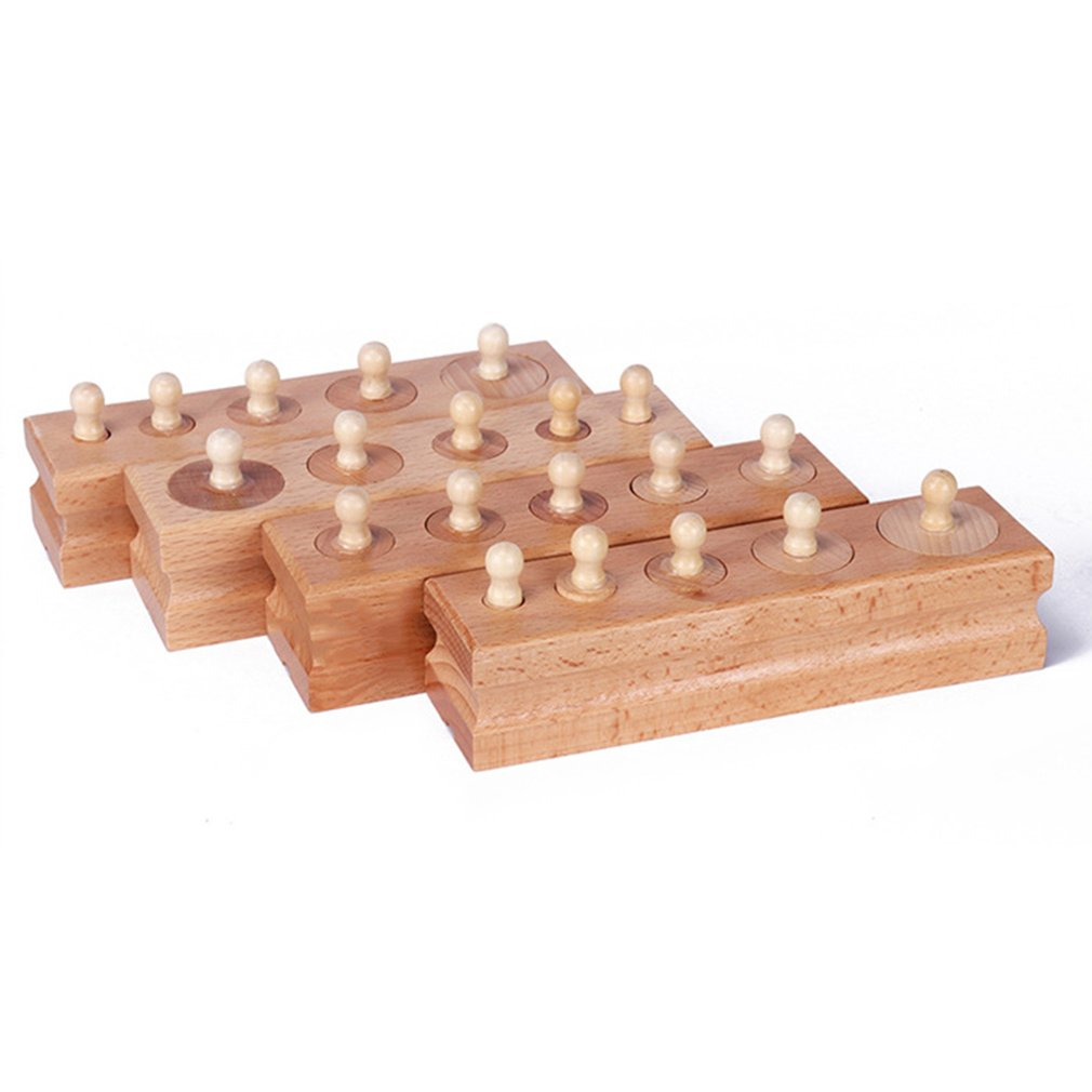 New Montessori Materials Montessori Block Toys Educational Games Cylinder Socket Wooden Math Toys For Parent Child Interaction