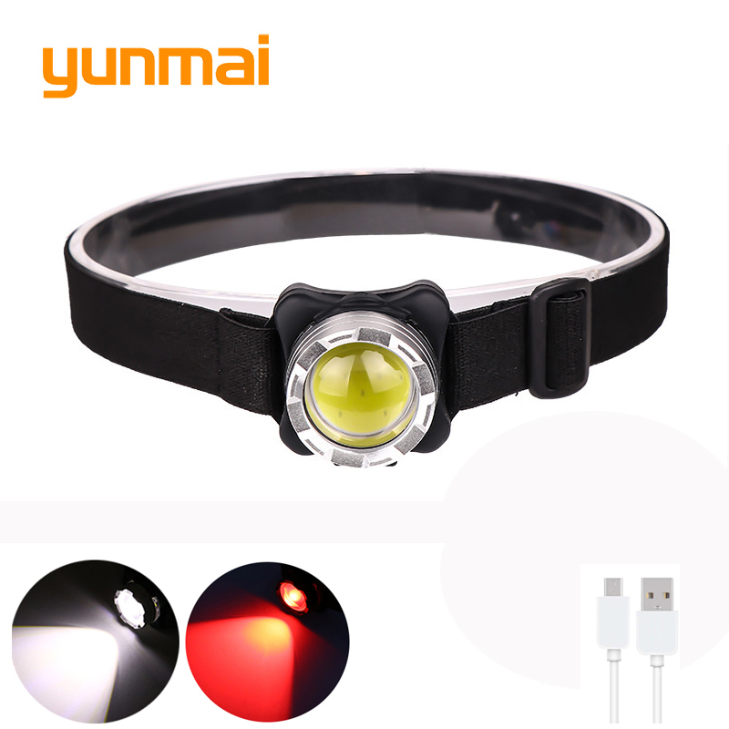 Rechargeable Headlight Powerful Headlamp USB  COB LED Head Light With Built-in Battery Waterproof Head Lamp White Red Lighting