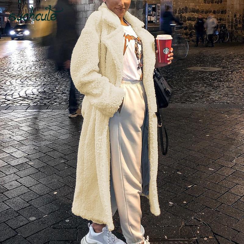 SUCHCUTE Long Fur Coats For Women Faux Fur Teddy Jacket Modis Women Park Longslive Casual Warm Winter 2019 Manteau Femme Clothes