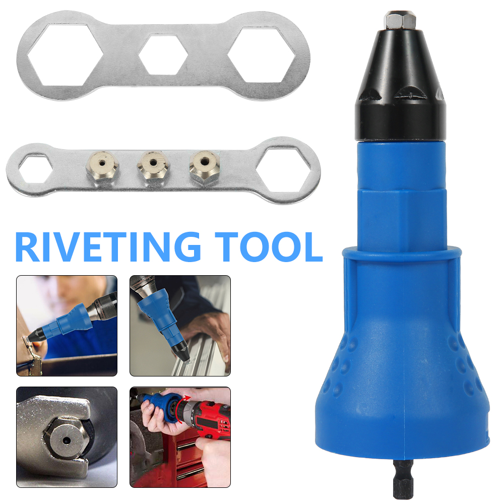 Blue Portable Rivet Gun, Riveting Tool, Used For Drilling, Battery Screwdriver Rivet Accessories, Save Space