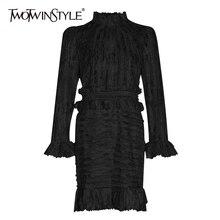 Deuxtwinstyle Patchwork à volants imprimé ruché femmes robes col montant manches bouffantes taille haute robe pour vêtements de mode féminine