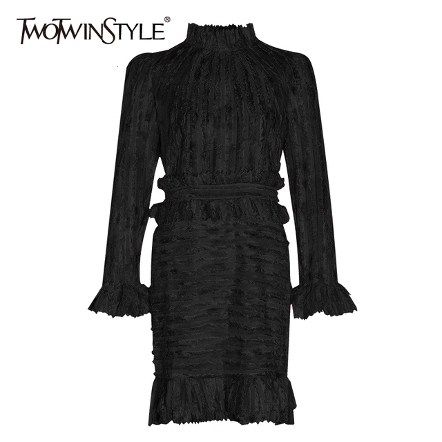 TWOTWINSTYLE 패치 워크 프릴 인쇄 Ruched 여자의 드레스 스탠드 칼라 퍼프 슬리브 높은 허리 드레스 여성 패션 의류