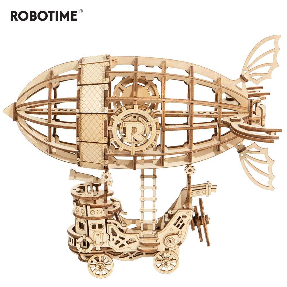Robotime 176pcs DIY 3D Wooden Airship Puzzle Game Popular Toy Gift For Children Friend TG407