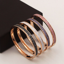Fashion Luxury Colorful Austrian Crystals Round Bangle & Bracelet For Women Jewelry Rose Gold Natural cryolite Bangles Gifts