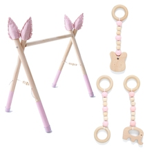 P15C 1Set Baby Gym Play Nursery Sensory Ring-pull Toy Wooden Clothes Rack Room Decor