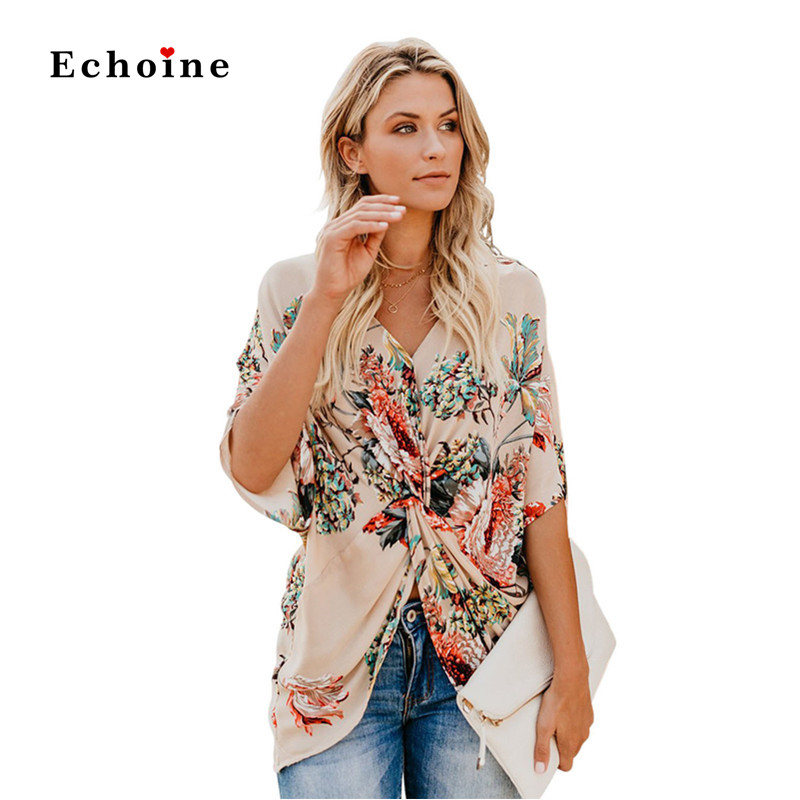 Women Blouse Printed Amaryllis Floral Twist Top Pleat Sexy V-Neck Half Sleeve Street Tunic Eelegant Lady Outwear Female Clothes