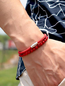 Bracelet Homme Umbrella-Rope Magnet-Braslet-Accessories Onyx-Stone Natural Lava Men Matching